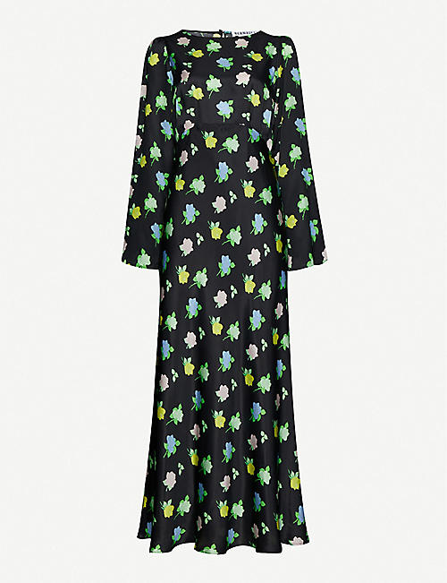 BERNADETTE Jane floral-print silk-satin midi dress