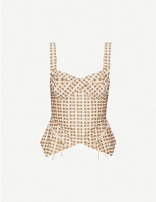 CHARLOTTE KNOWLES: Tactical checked cotton-blend bustier top