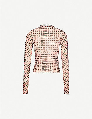 CHARLOTTE KNOWLES: Halycon checked stretch-woven top
