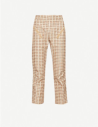 CHARLOTTE KNOWLES: Tactical checked straight-leg mid-rise cotton-blend trousers