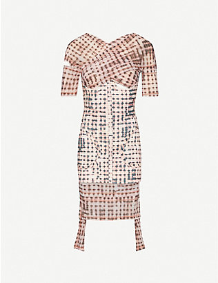 CHARLOTTE KNOWLES: Anti checked stretch-woven mini dress