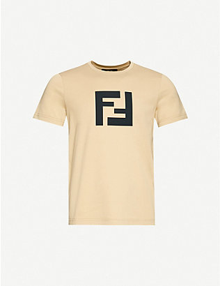 FENDI: Logo-print cotton-jersey T-shirt