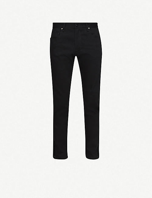 FENDI: Logo-tape slim jeans