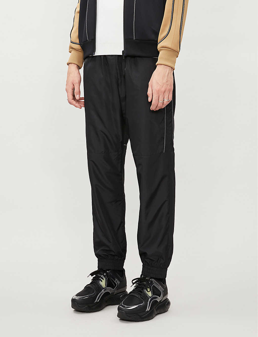 FENDI: Drawstring-waistband brand-piping shell trousers