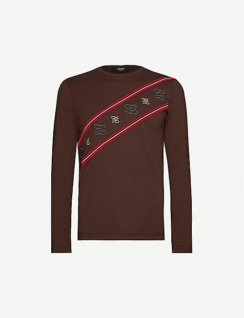 FENDI: Diagonal logo-print crewneck cotton-jersey top
