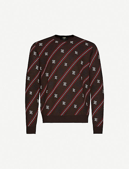 FENDI Intarsia-knit wool jumper