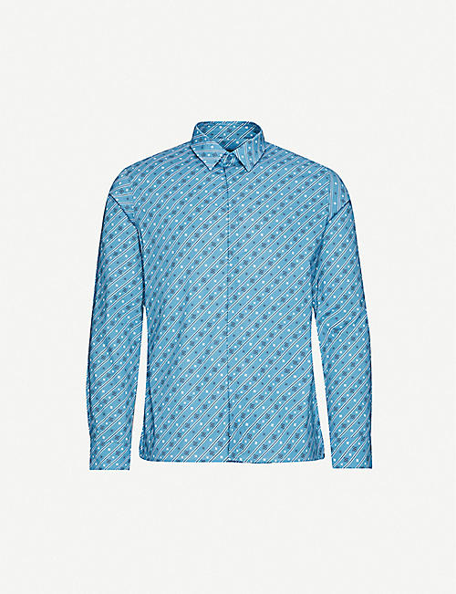 FENDI: Logo-print regular-fit cotton-blend shirt