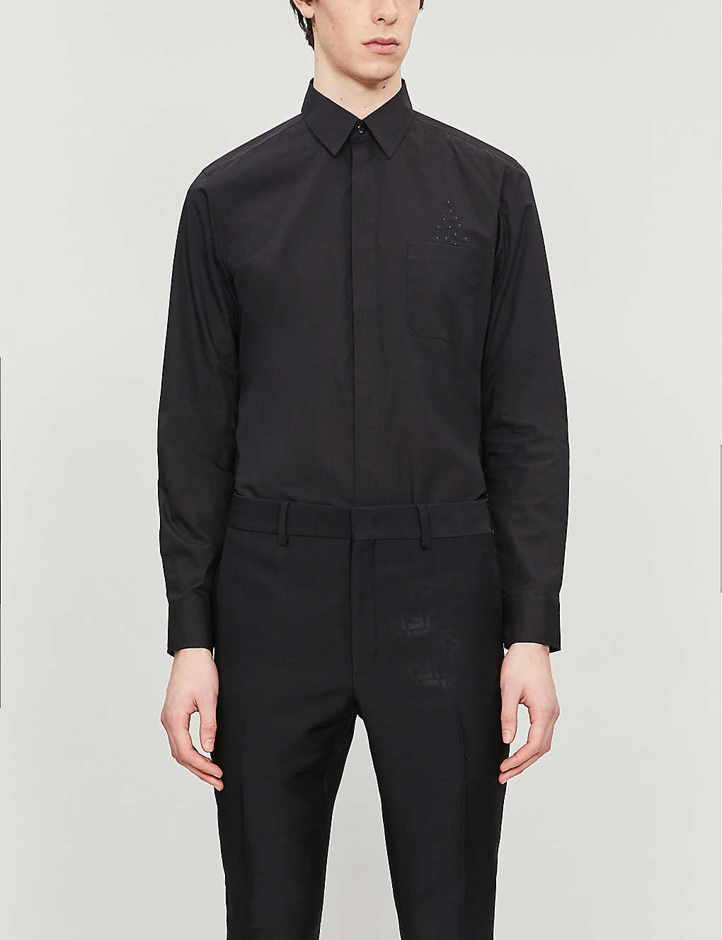 FENDI: Eyes-appliqué collared cotton shirt