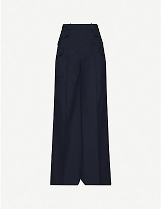 ROKH: Wide-leg mid-rise stretch-twill trousers