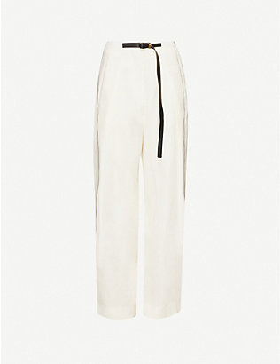 THE ROW: Brona high-rise silk and linen-blend straight-leg trousers