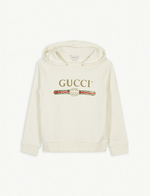 GUCCI Distressed logo print cotton hoody 4-10 years