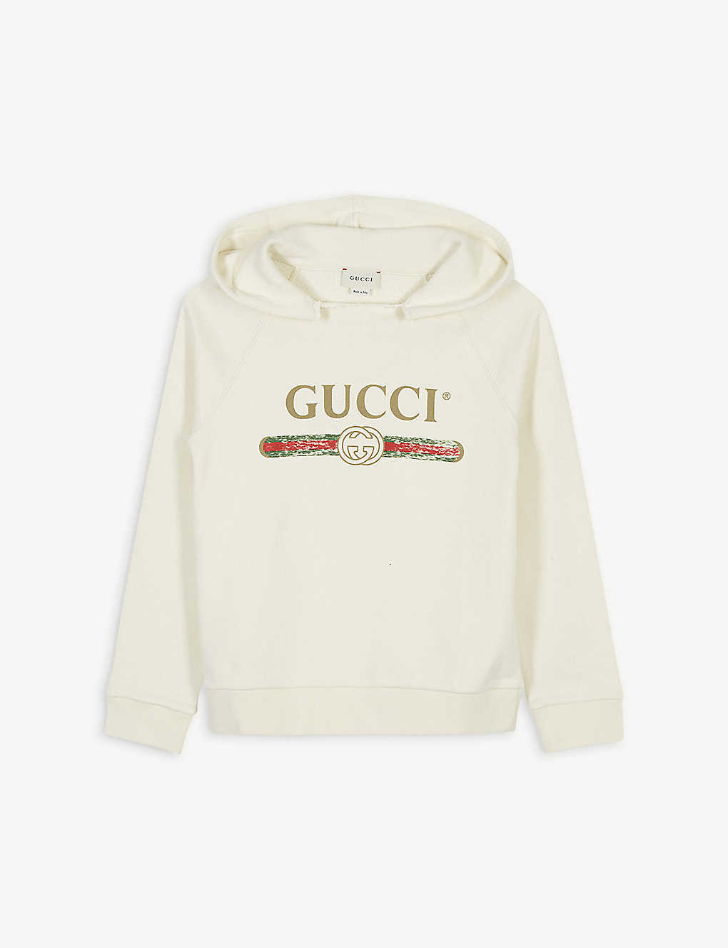 GUCCI: Distressed logo print cotton hoody 4-10 years