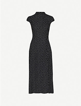 REFORMATION: Patti polka dot-print crepe midi dress