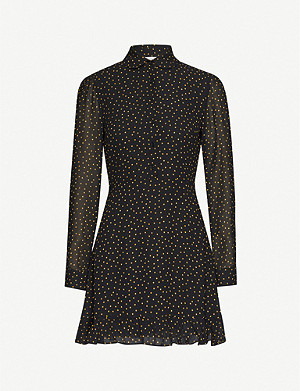 REFORMATION Lady dot-pattern crepe mini dress