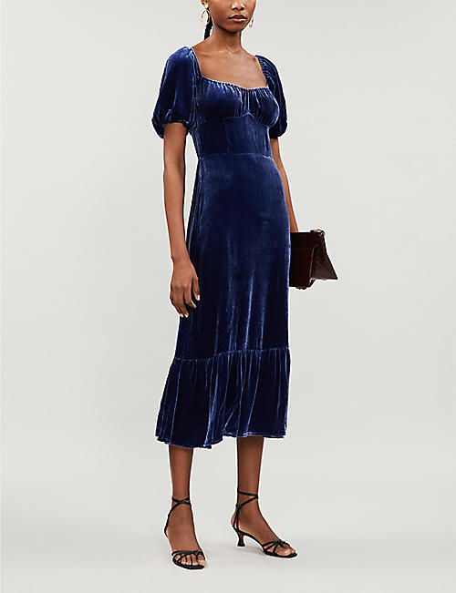REFORMATION Suzanne puffed-sleeve velvet midi dress