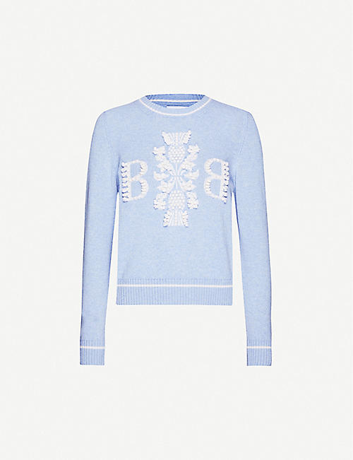 BARRIE Logo-embroidered cashmere jumper