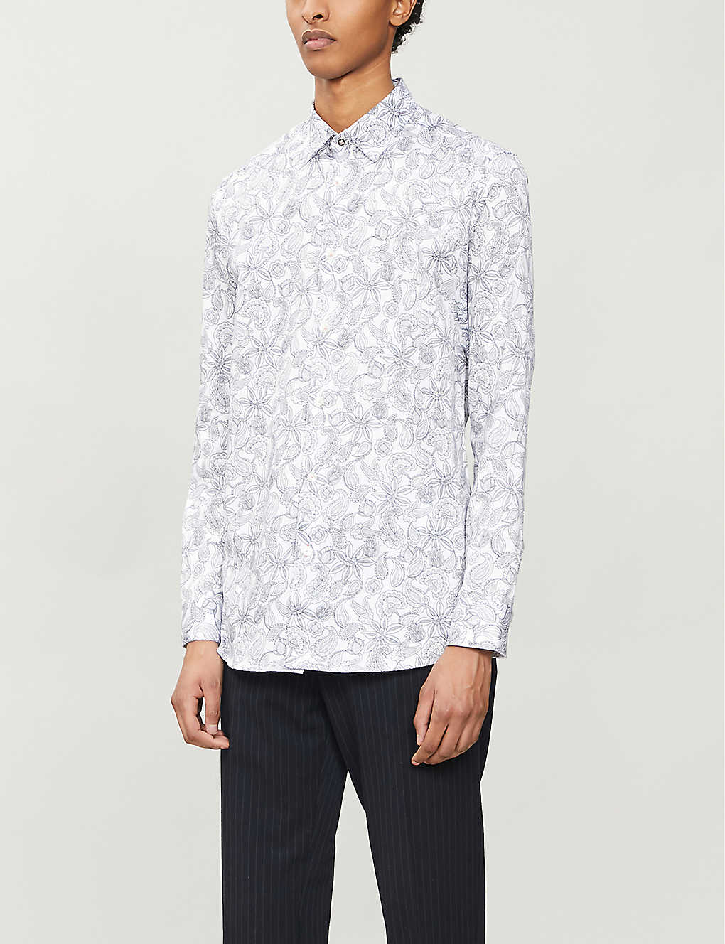 TED BAKER: Paisley-print regular-fit cotton shirt