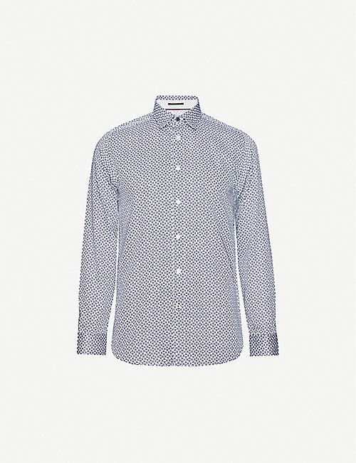 TED BAKER: Graphic-print regular-fit cotton shirt