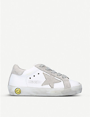 GOLDEN GOOSE: Superstar A1 distressed leather trainers 6 months - 6 years
