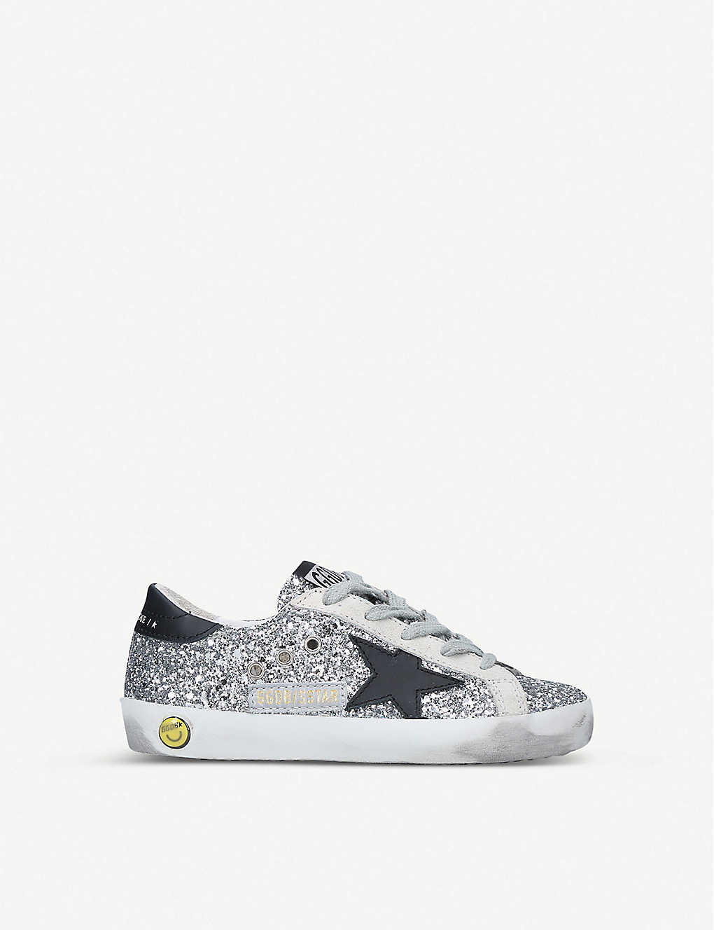 GOLDEN GOOSE: Superstar B45 distressed leather and glitter trainers 6-8 years