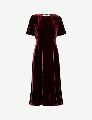 WHISTLES Vilimina cut-out velvet midi dress