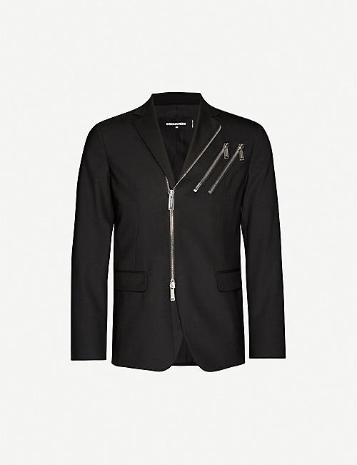 DSQUARED2 Zip-detail wool-blend blazer