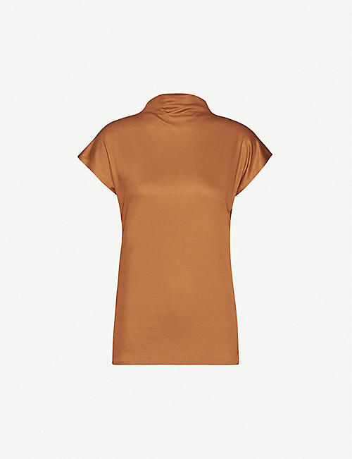 REISS Pax draped jersey top