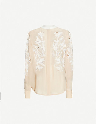REISS: Jodie floral-embroidered chiffon shirt