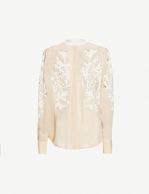 REISS Jodie floral-embroidered chiffon shirt