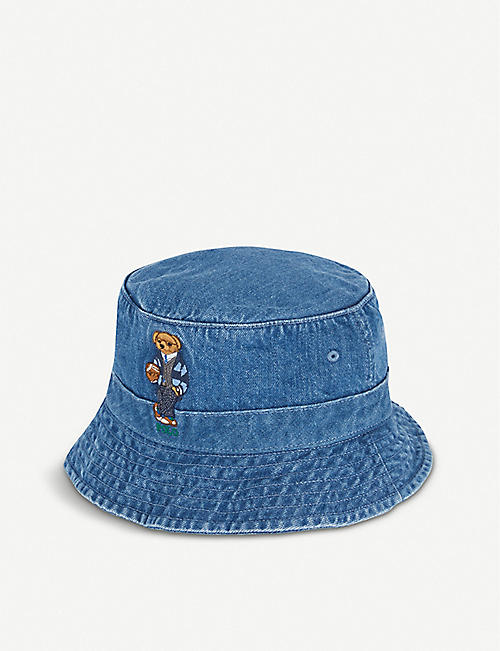 POLO RALPH LAUREN Polo Bear-embroidered denim bucket hat