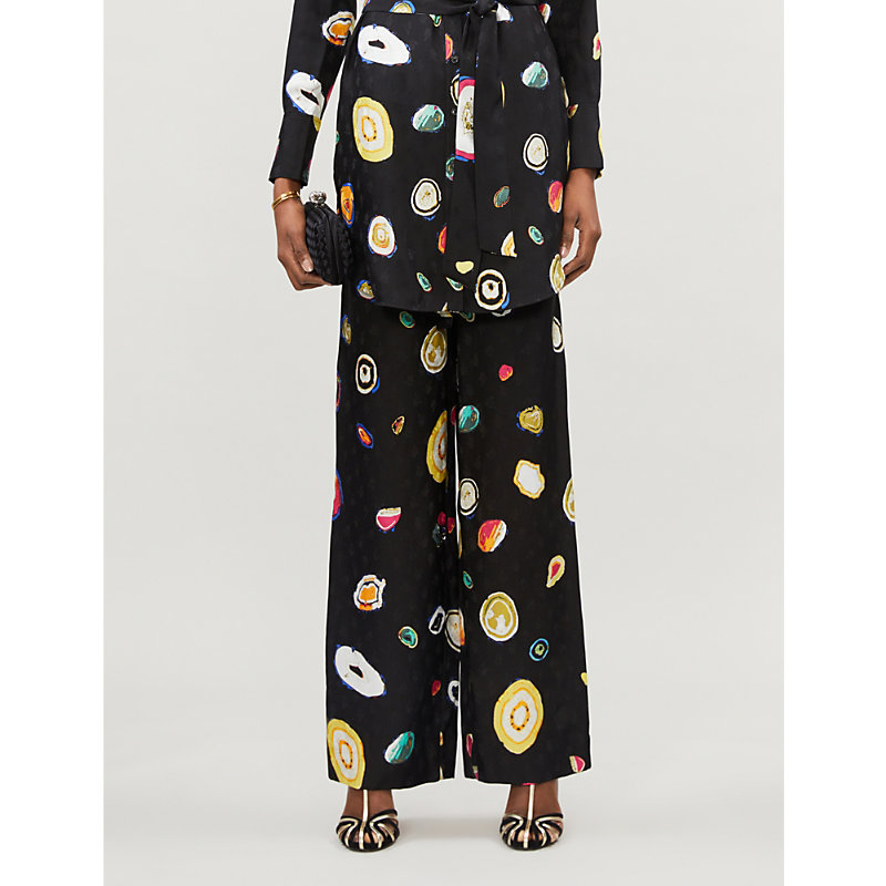 Diane Von Furstenberg DENISE GRAPHIC-PRINT WIDE-LEG SILK-BLEND CREPE TROUSERS
