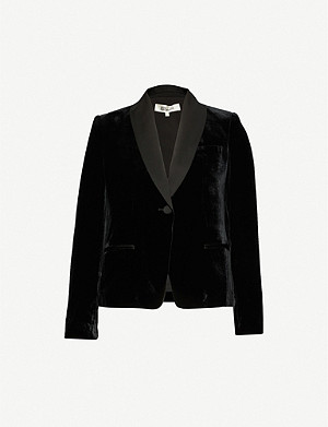 DIANE VON FURSTENBERG Hermia single-breasted velvet blazer