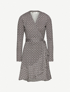 DIANE VON FURSTENBERG Elita geometric-print silk wrap mini dress