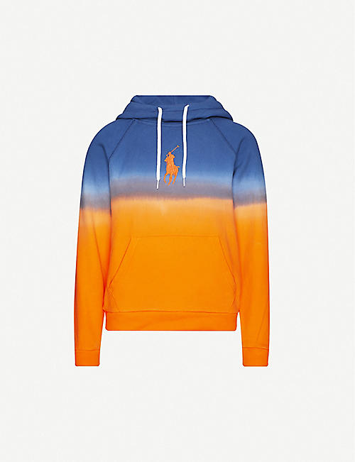 POLO RALPH LAUREN Dip-dye logo-embroidered cotton-jersey hoody