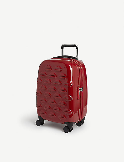 LULU GUINNESS Embossed lips cabin suitcase