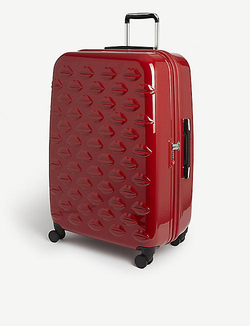 LULU GUINNESS Large embossed lips suitcase