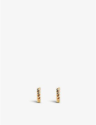 OTIUMBERG: Mini chunky twist gold-plated vermeil hoop earrings