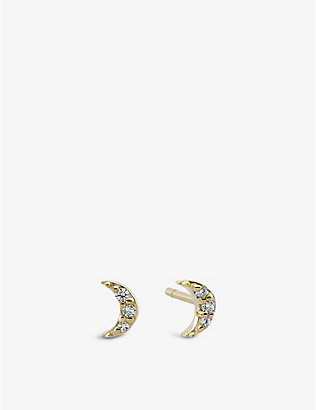 OTIUMBERG: Moon 9ct gold and diamond stud earring