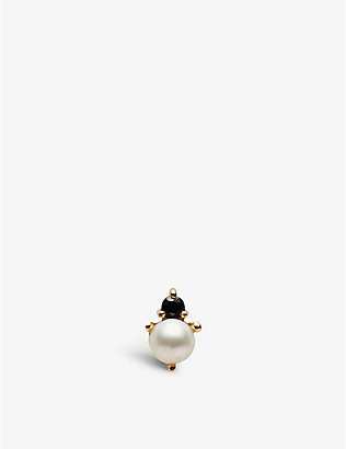 OTIUMBERG: Pearl and onyx gold stud earring
