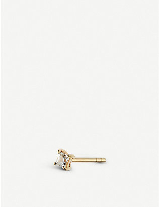 OTIUMBERG: Square 9ct yellow-gold and white-sapphire earring