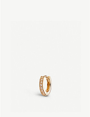 OTIUMBERG: 9ct gold and diamond huggie hoop earring
