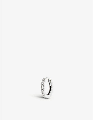 OTIUMBERG: Medium diamond and 9ct white gold huggie hoop earring