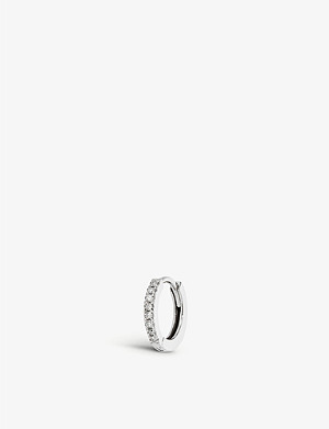 OTIUMBERG Medium diamond white gold huggie hoop