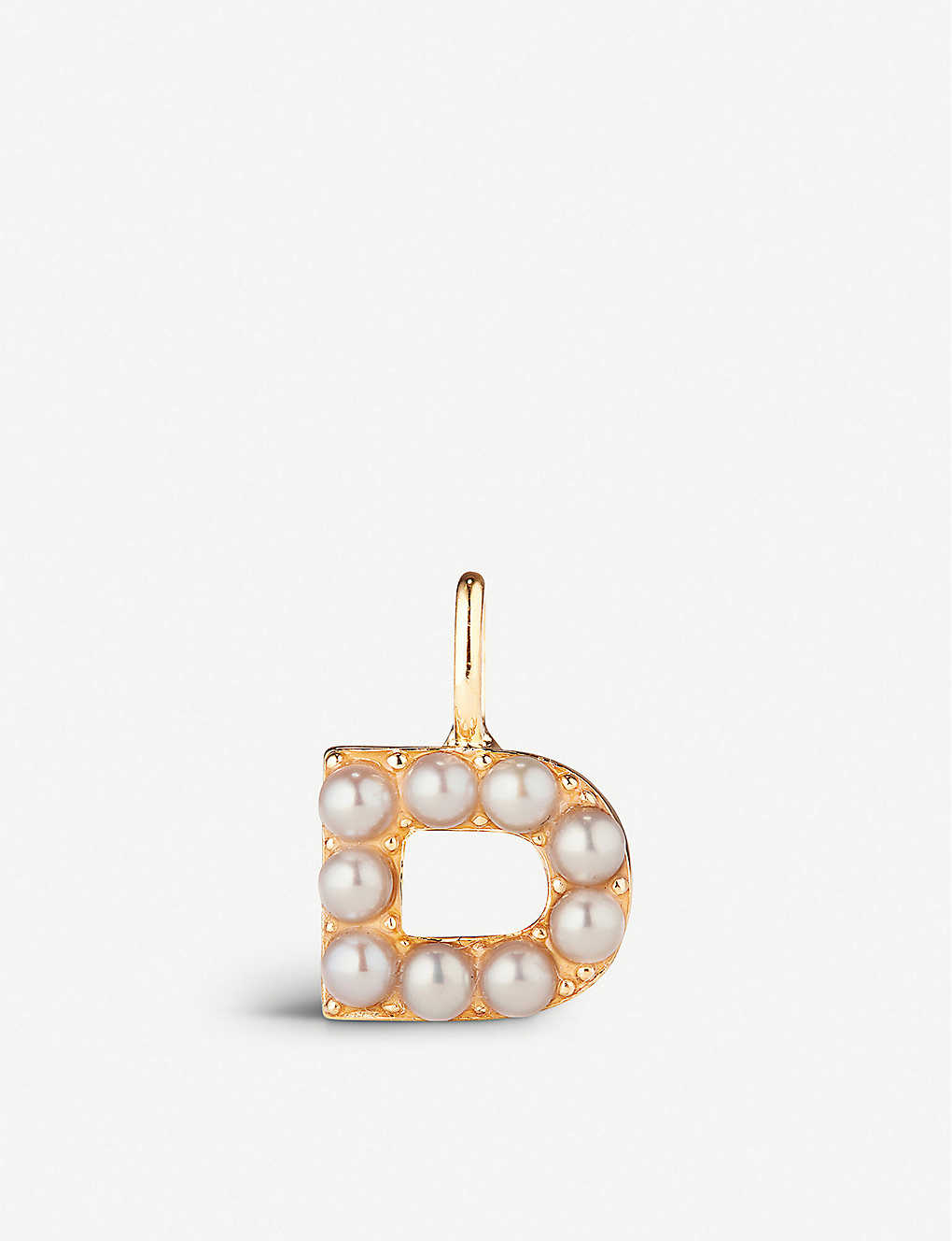 OTIUMBERG: Alphabet gold vermeil and freshwater pearls charm