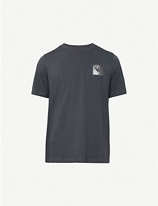 EMPORIO ARMANI: Logo-patch jersey T-shirt