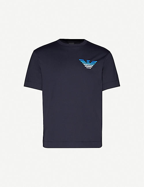 EMPORIO ARMANI: Eagle-print cotton-jersey T-shirt