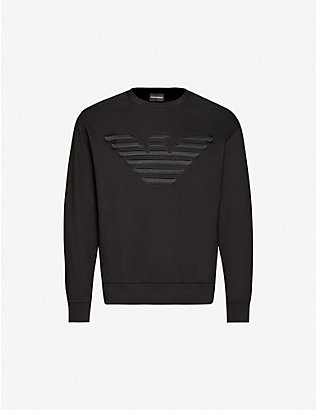 EMPORIO ARMANI: Eagle logo-print crewneck cotton-blend sweatshirt