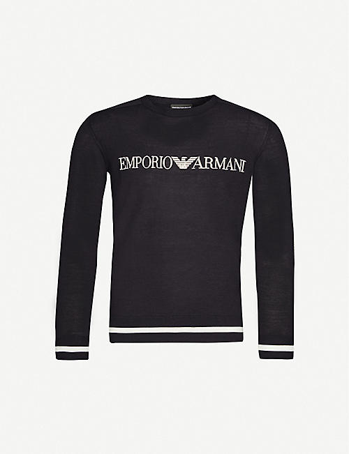 EMPORIO ARMANI Knitted embroidered logo jumper
