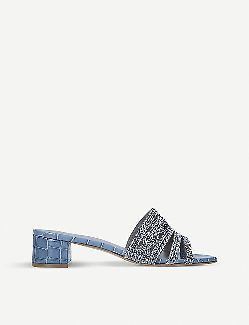 GINA: Rodeo crocodile-embossed leather mules