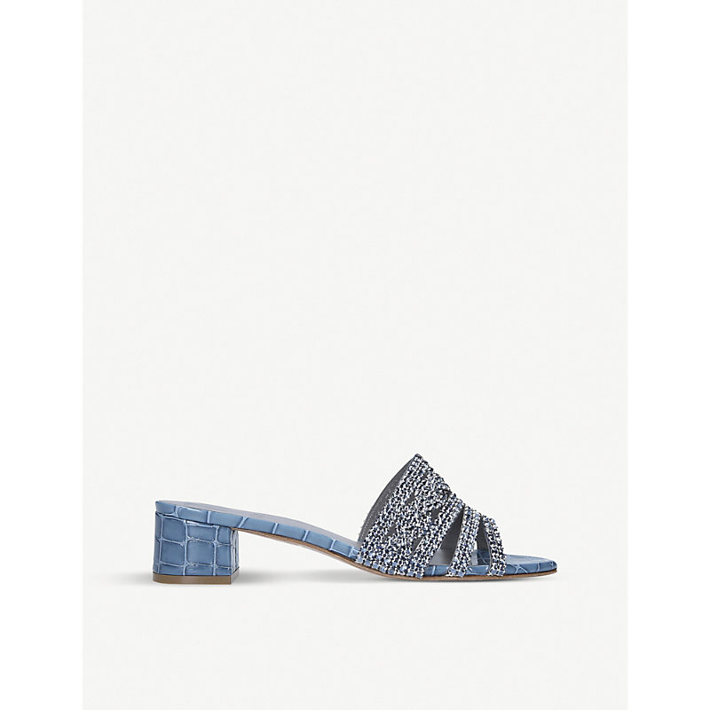 Gina RODEO CROCODILE-EMBOSSED LEATHER MULES